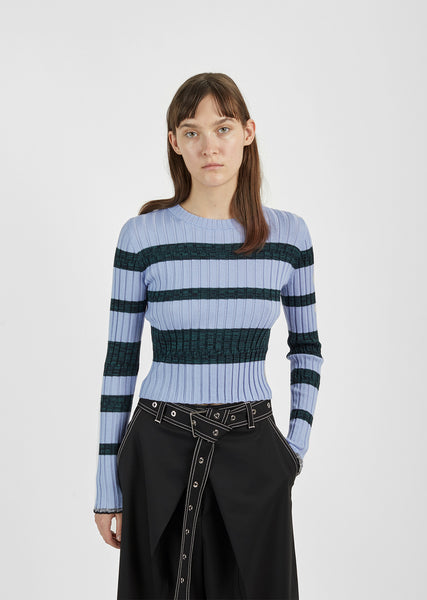 Ultrafine Striped Rib Crewneck