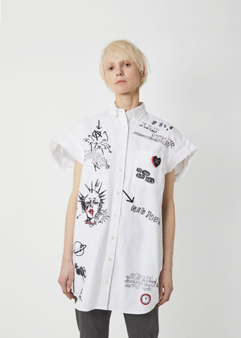 Sleeveless Oxford Embroidered Shirt
