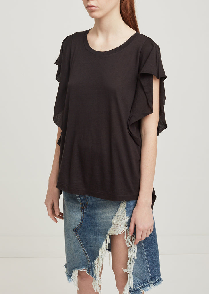 Wash Black Flutter Tee