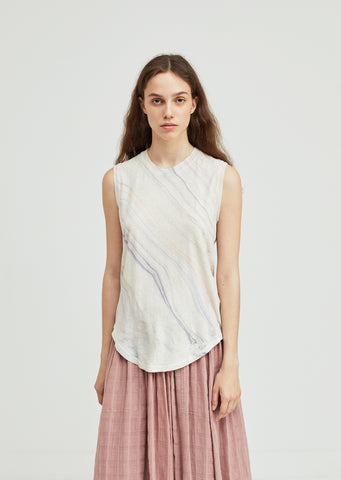 Marble Linen Muscle Tee