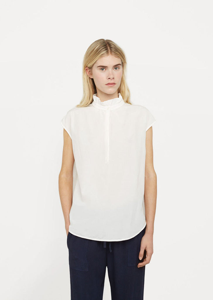 Silk Cotton Voile Ruffle Neck Top