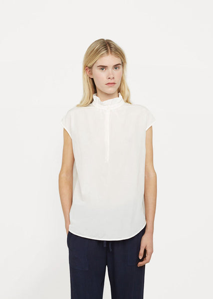 Raquel Allegra Silk Cotton Voile Ruffle Neck Top La Garconne