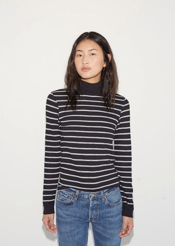 Mock Neck Stripe Tee