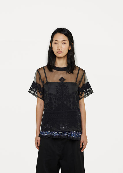 Tribal Lace Organza Top