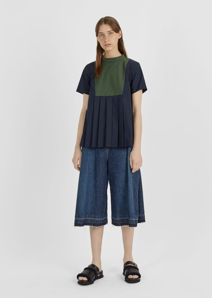 Front Bib Pleated Top