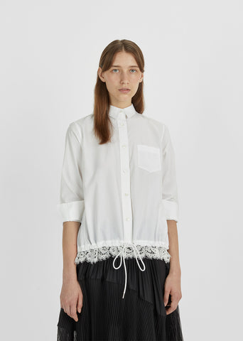 Drawstring Button Down Shirt