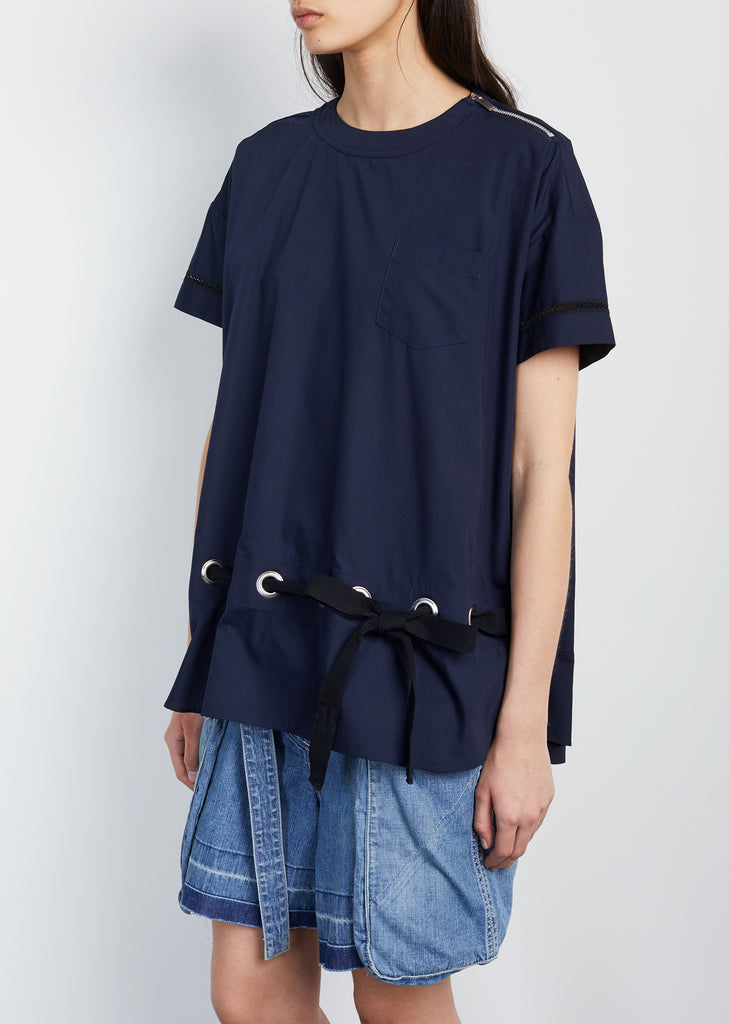Cotton Poplin Grosgrain Belt Top