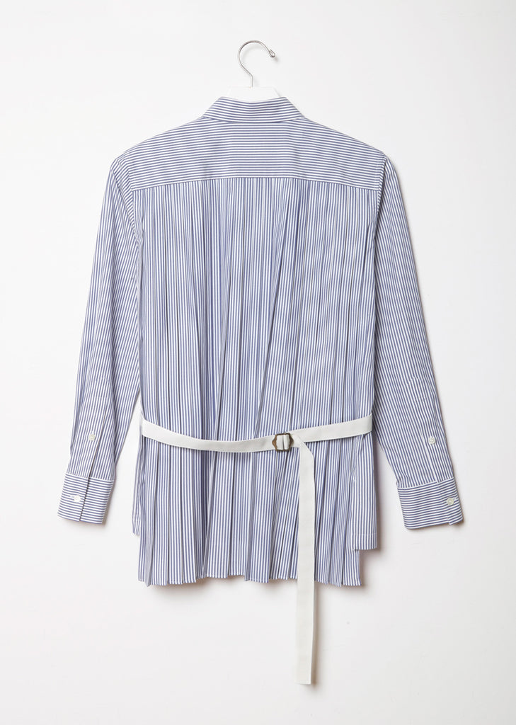 Striped Cotton Shirt with Back Pleats