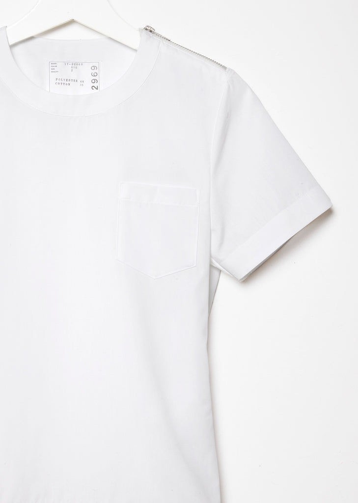 Cotton Poplin Top with Back Pleats