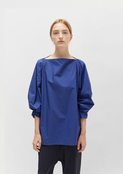 Cotton Poplin Boatneck Blouse