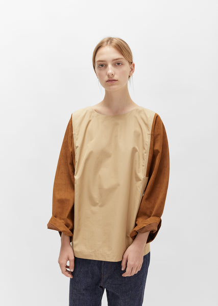 Egyptian Cotton Blouse with Nubuck Sleeves