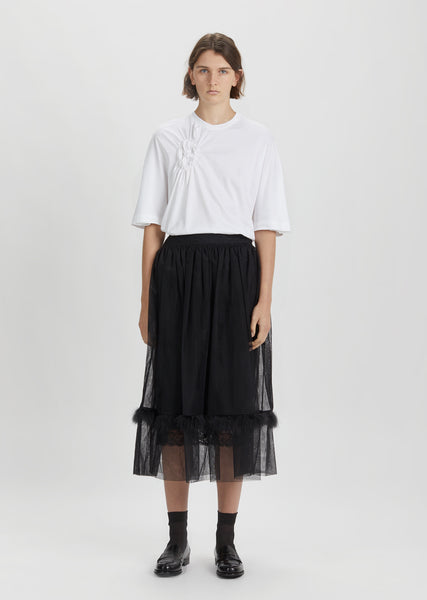 Marabou Trimmed Smocked Waist Skirt