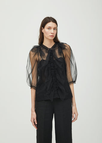 Tulle Ruffle Front Blouse