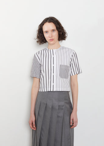 Cotton Poplin Stripe Cropped Shirt