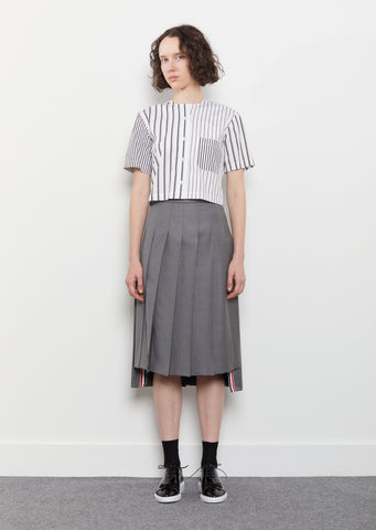 Wool Twill Pleated Skirt