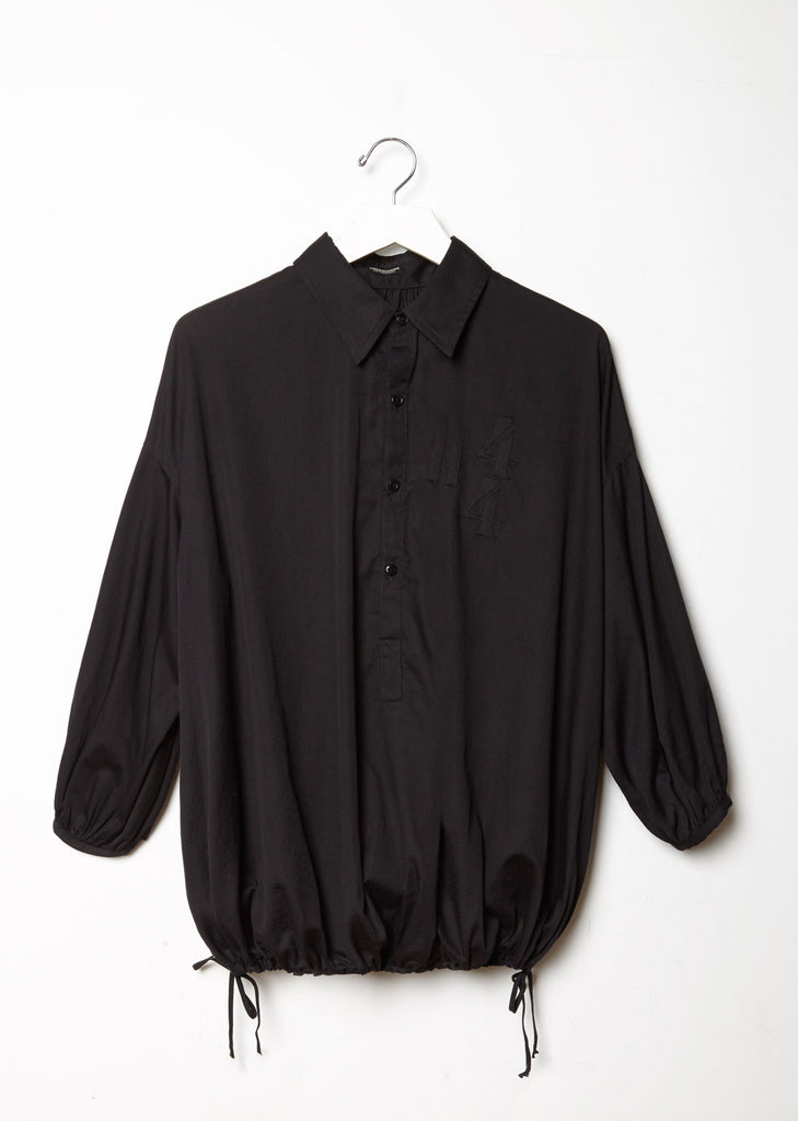 Drawstring Hem Cotton Shirt