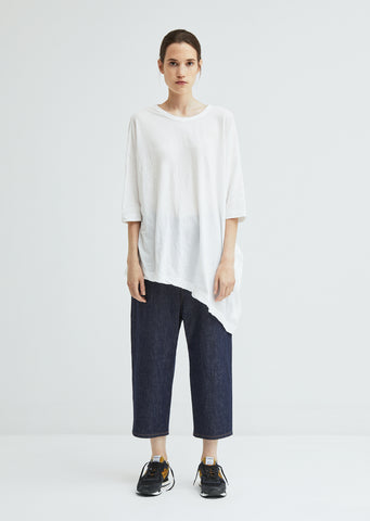 Unbalance Wrinkled Cotton Top