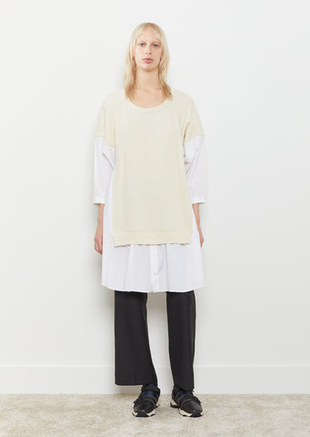 Knit Panel Oversized Shirt