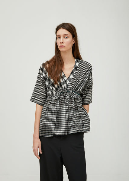 Cupro Gingham Check Top