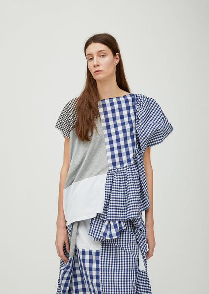 Cotton Patchwork Gingham Top