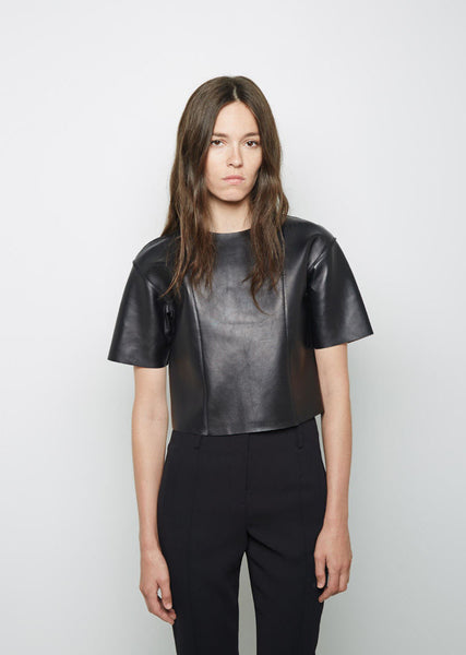T by Alexander Wang Cropped Leather Tee La Garconne