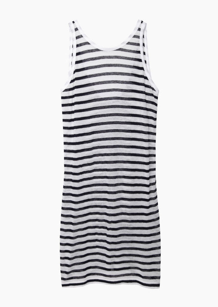 T by Alexander Wang Striped Rayon-Linen Dress La Garconne