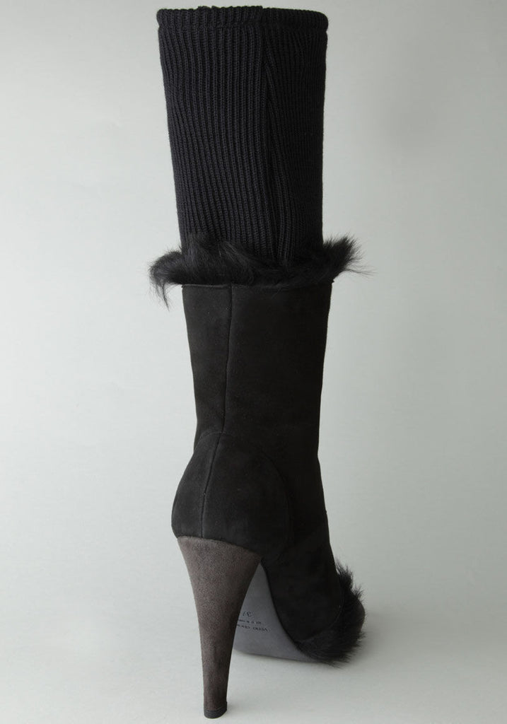 Suede High Boot with Fur Detail