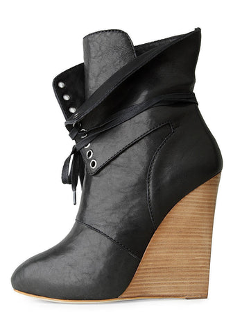 Wedge Boot with Lace Up Flap