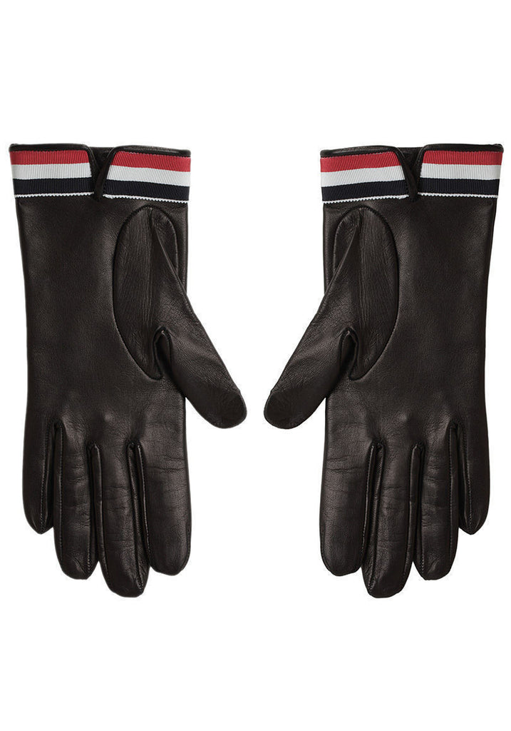 Leather Gloves w/ Striped Cuff