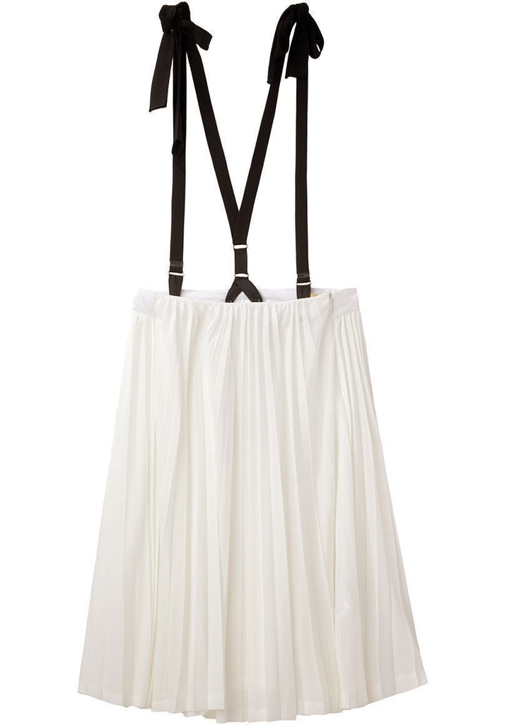Jersey Pleat Skirt With Braces