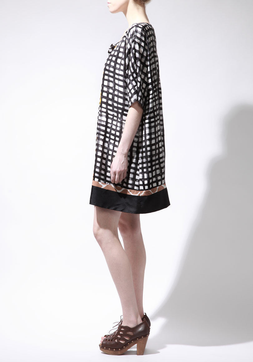 Animal Gingham Print Dress