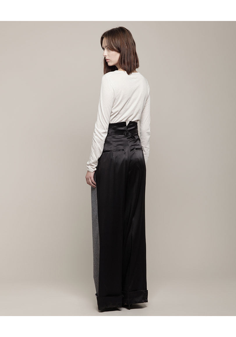 Bi-Fabric High Waisted Trouser
