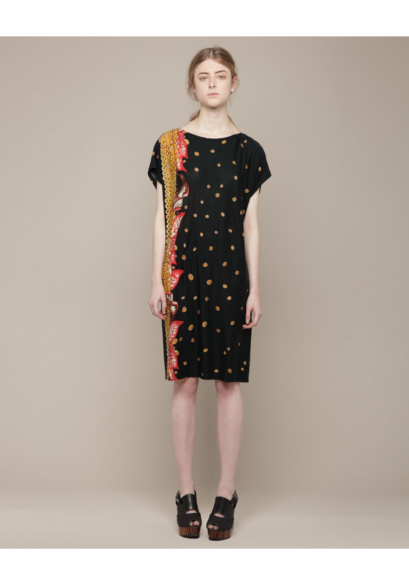 Coffee Dot Wool Jersey Dress