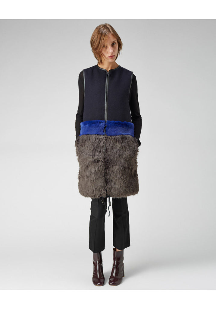 Colorblocked Furry Vest