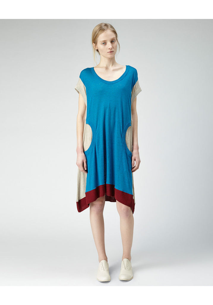Colorblocked Linen Dress