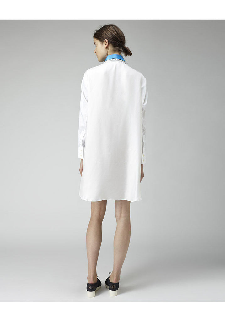 Contrast Collar Shirtdress