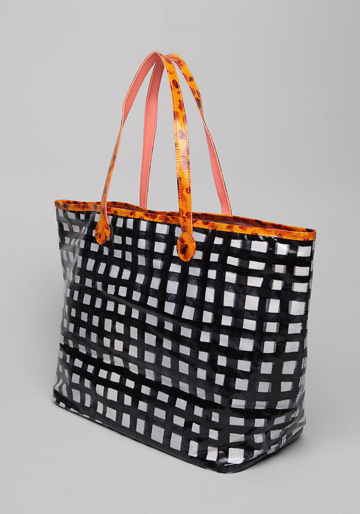 Gingham Check PVC Tote Bag