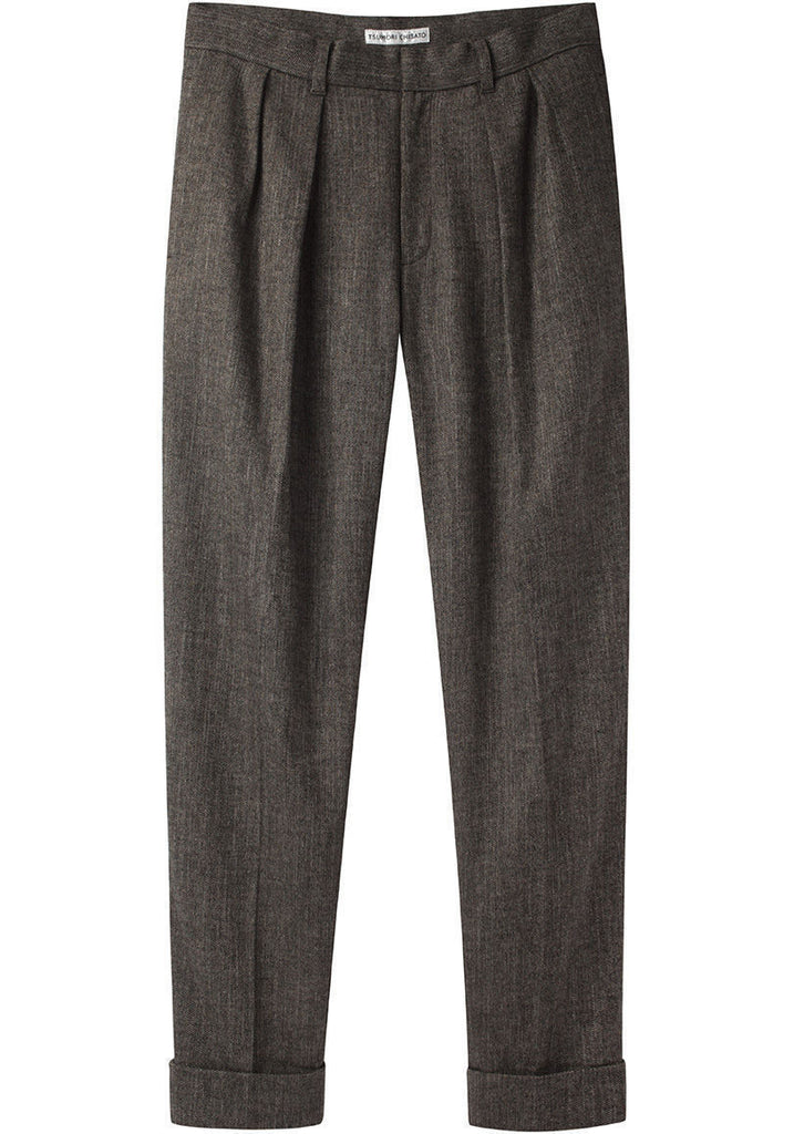 Herringbone Mix Pleated Pants