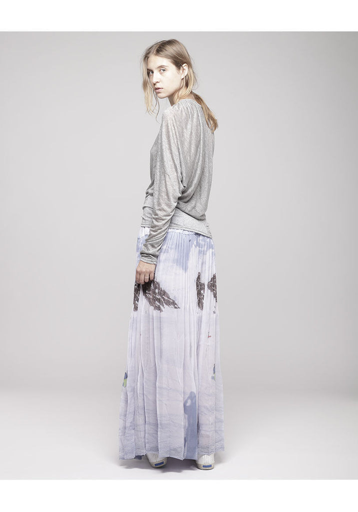 Long Pleated Ski Scene Skirt