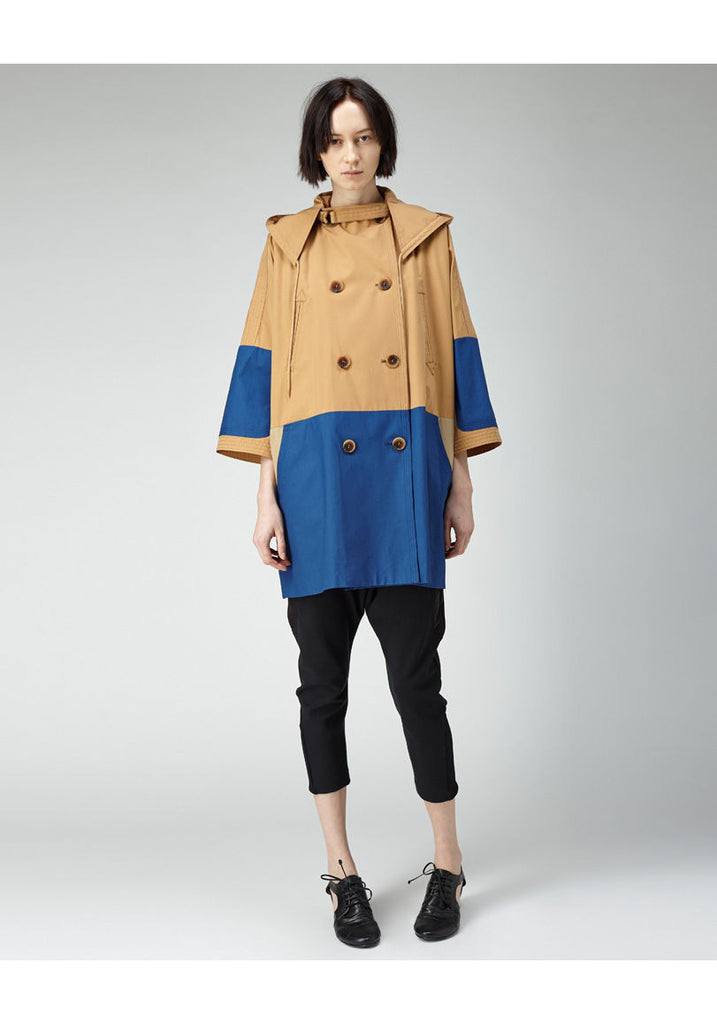 Patchwork Hooded Coat