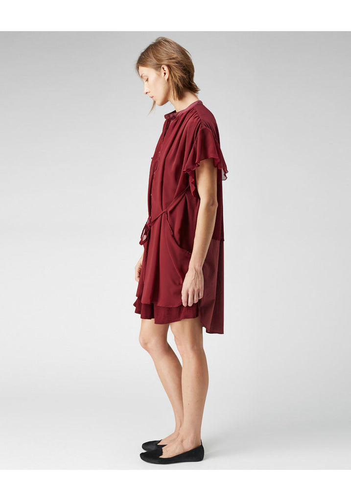 Ruffle Sleeve Shirtdress
