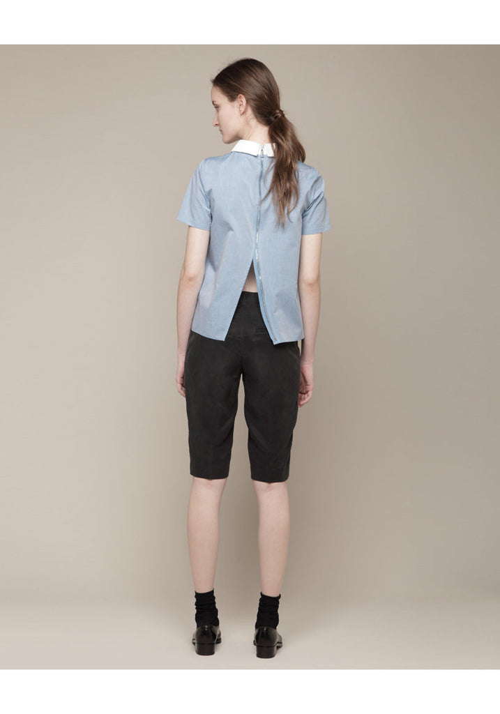 Zipper Back Blouse W/ Collar