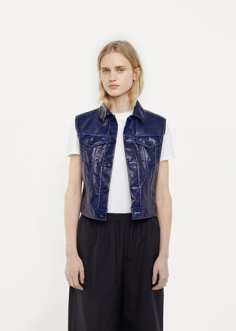 Synthetic Leather Garment Treated Vest