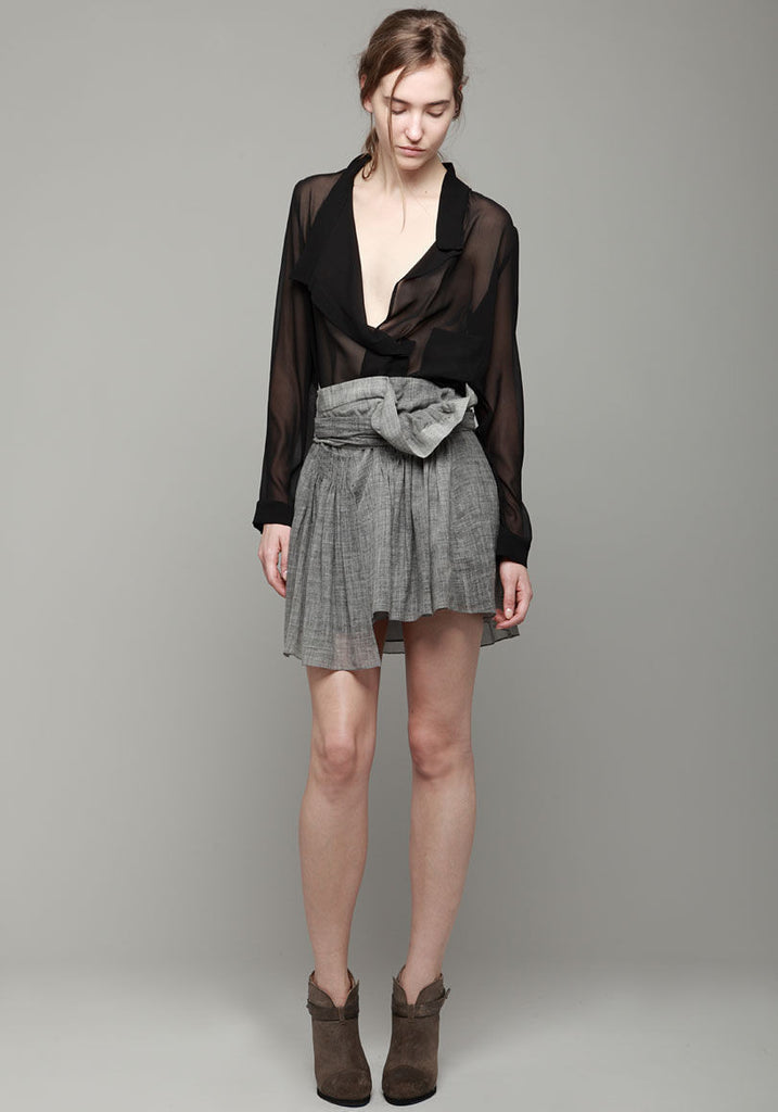 Asymmetric Washed Silk Blouse