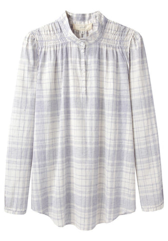 Smocked Plaid Henley