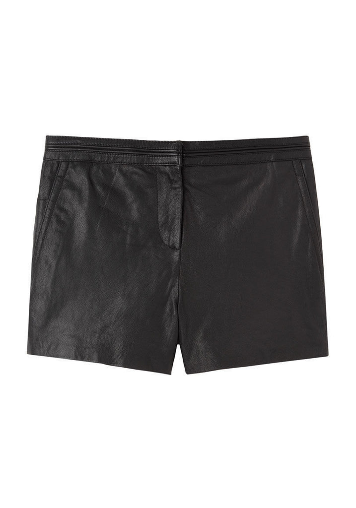 Washed Leather Shorts