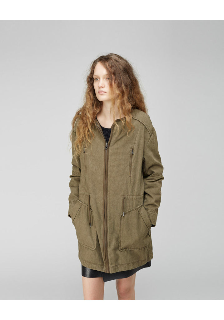 Collarless Parka