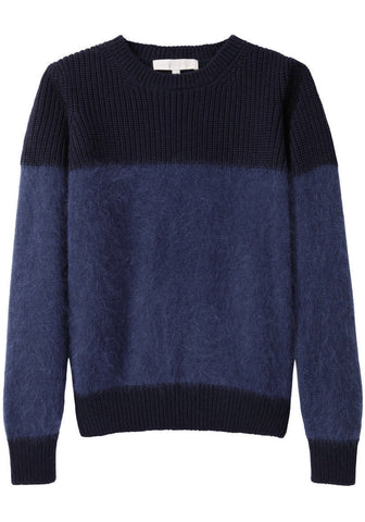 Colorblocked Angora Pullover