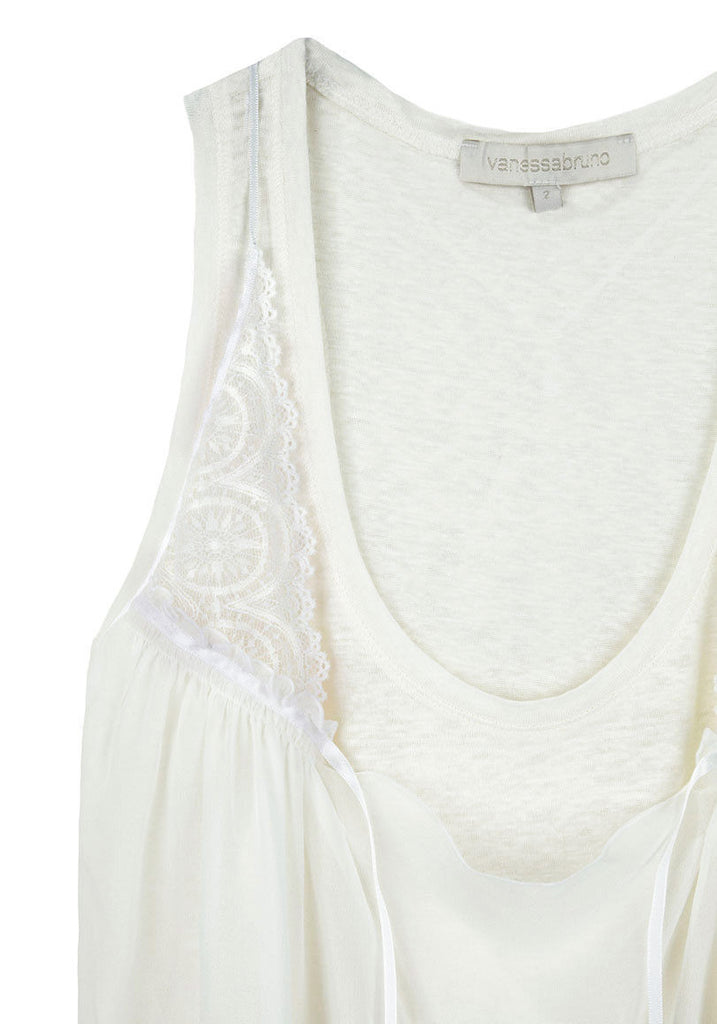 Linen Tank w/ Lace Overlay
