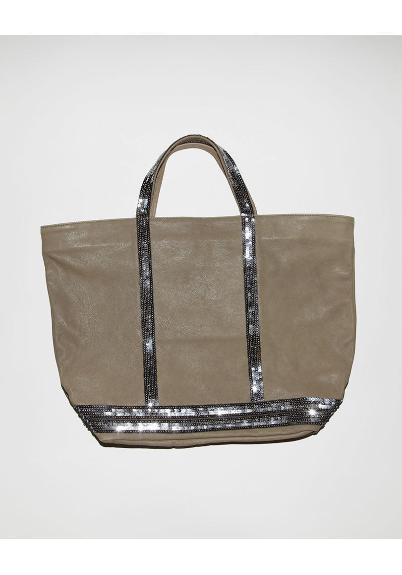 Sequin Leather Tote